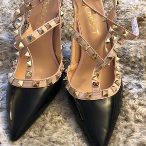 Shoes - Black and Tan T-Strap studded heels